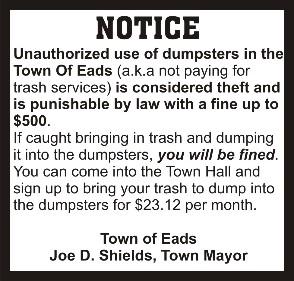 ADV - Notice - Town of Eads