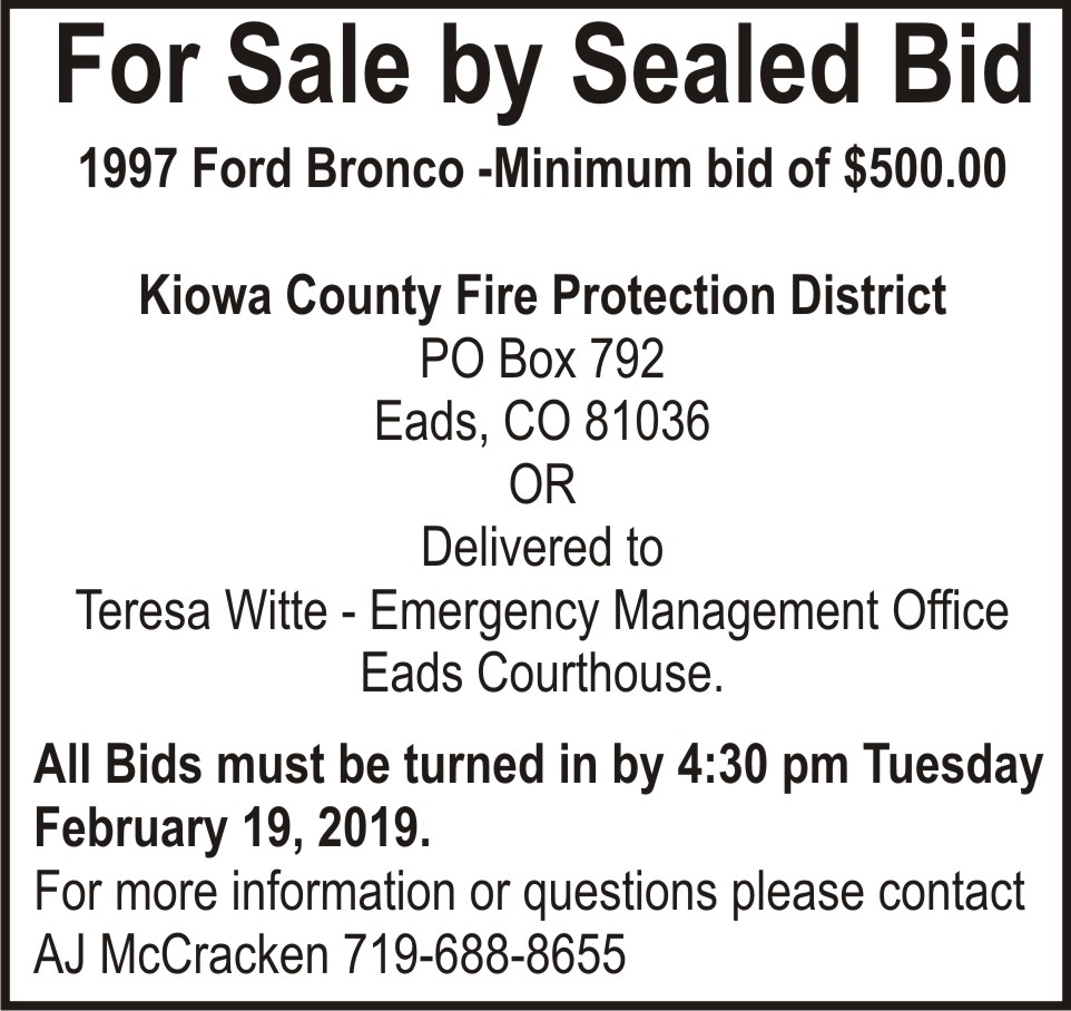 AD Bids Accepted - Kiowa County Fire Protection District