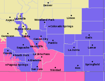 MAP Southeast Colorado Winter Storm Warnings and Winter Weather Advisories for February 18, 2019