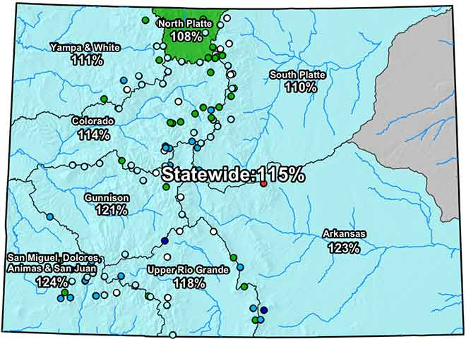 MAP Colorado River Basin Snow Water Equivalent - February 22, 2019 - NRCS