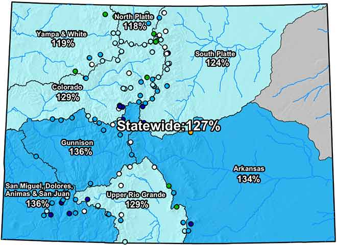 MAP Colorado River Basin Snow Water Equivalent - March 8, 2019 - NRCS