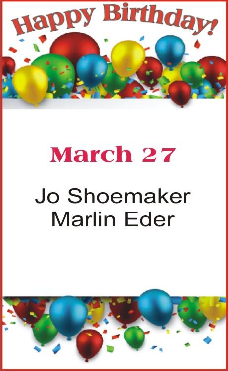 Happy Birthday to Shoemaker Eder