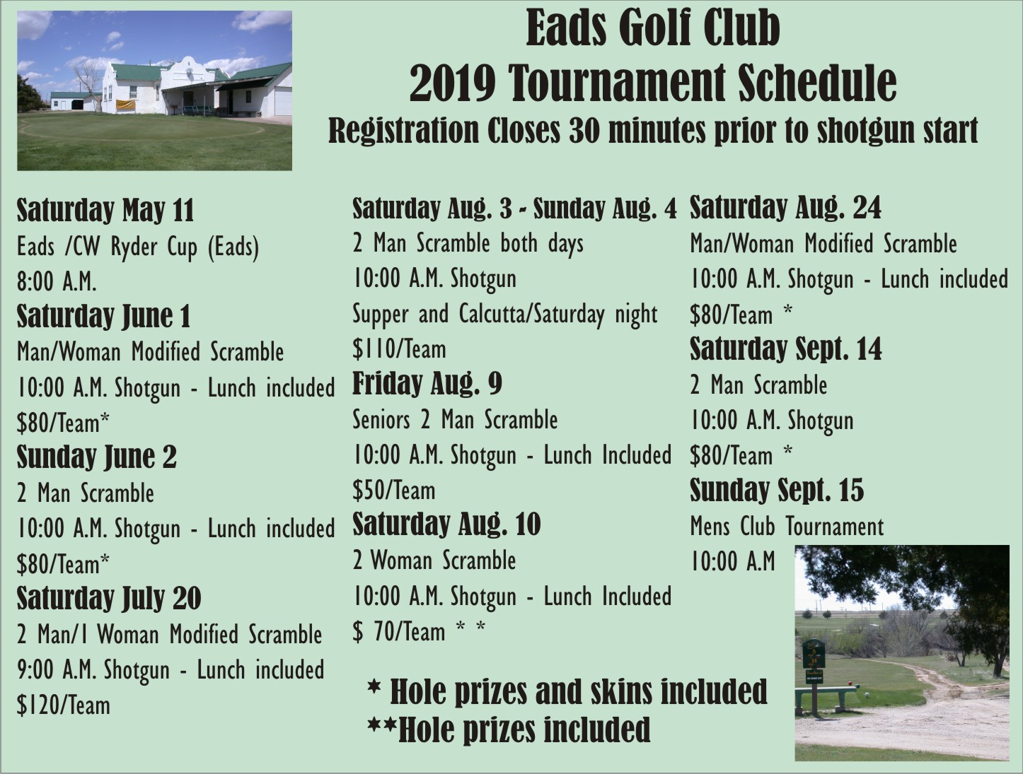 AD 2019-04 Sports Events - Golf Schedule