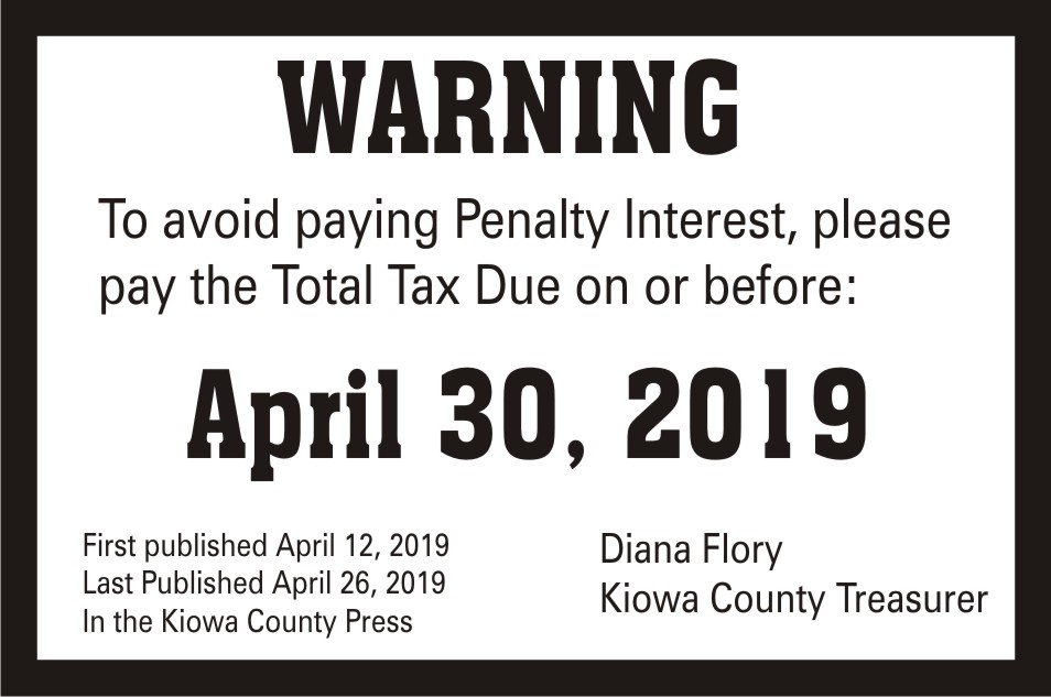 AD 2019-04 Kiowa County Treasurer - Tax Warning