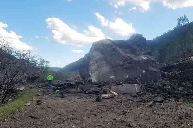 PICT Boulder that destroyed part of Highway 145 - CDOT