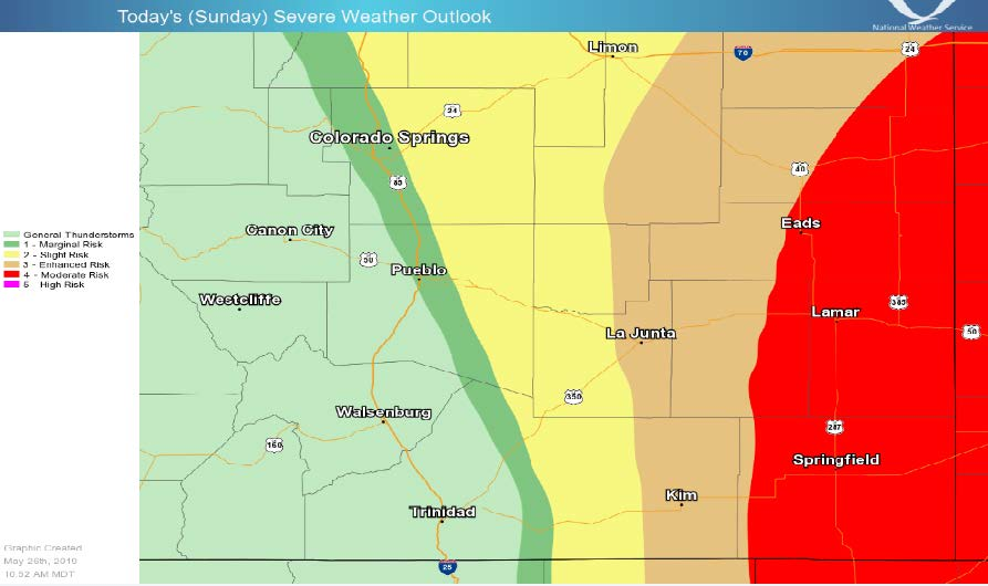 MAP Southeast Colorado severe weather risk - May 26, 2019 as of 10:52 a.m. - Courtesy NOAA.