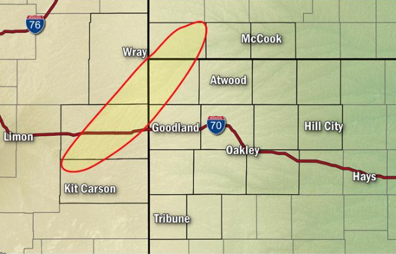 MAP Area of concern for the formation of landspout tornadoes June 8, 2019 - NWS