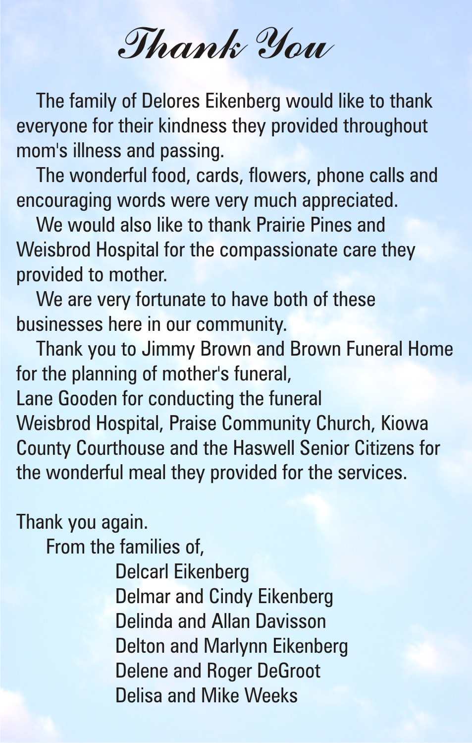 COT Card of Thanks - Eikenberg Families