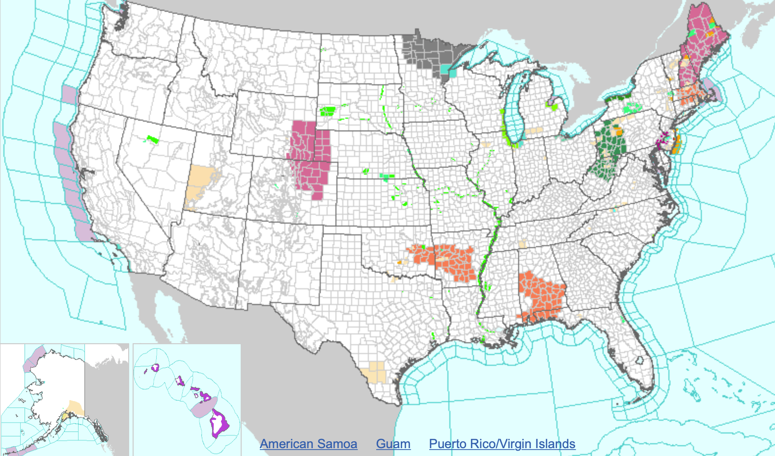 MAP National Weather Watches and Warnings for July 6, 2019 at 110 pm - NWS