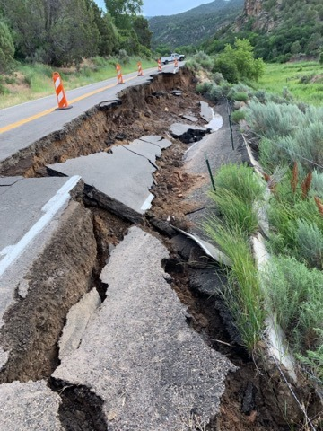 PICT Collapsed section of Highway 325 near Rifle Gap Reservoir - CDOT