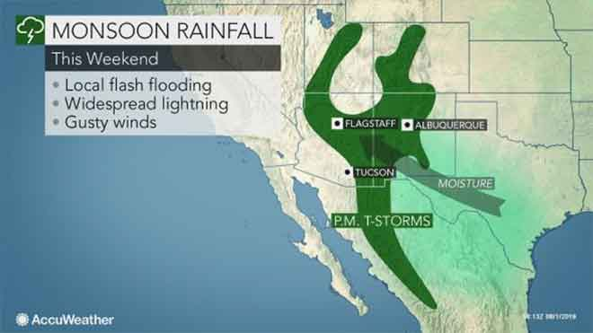 PICT Monsoon rainfall for August 2-4, 2019 - AccuWeather