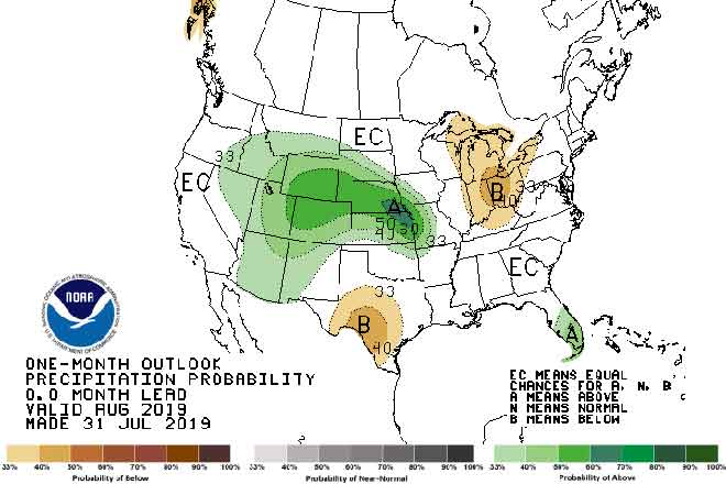 MAP August 2019 Precipitation Outlook - NOAA-CPC