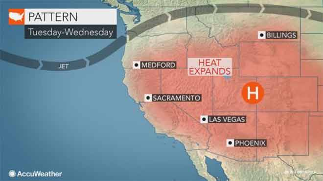 MAP Heat building in the United States - AccuWeather