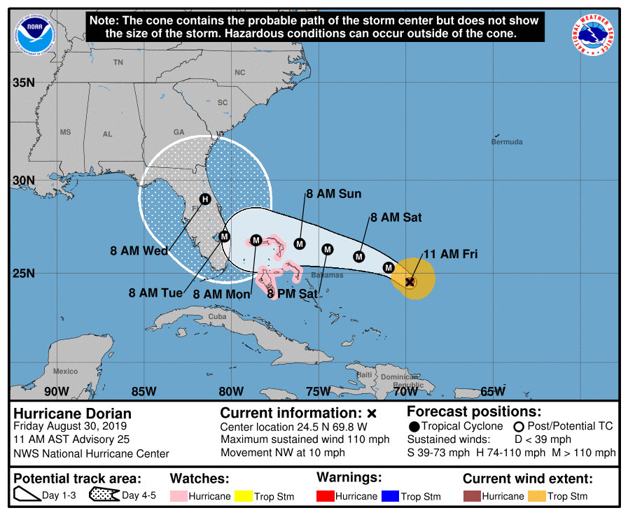 MAP Hurricane Dorian potential track as of August 30, 2019 - NOAA