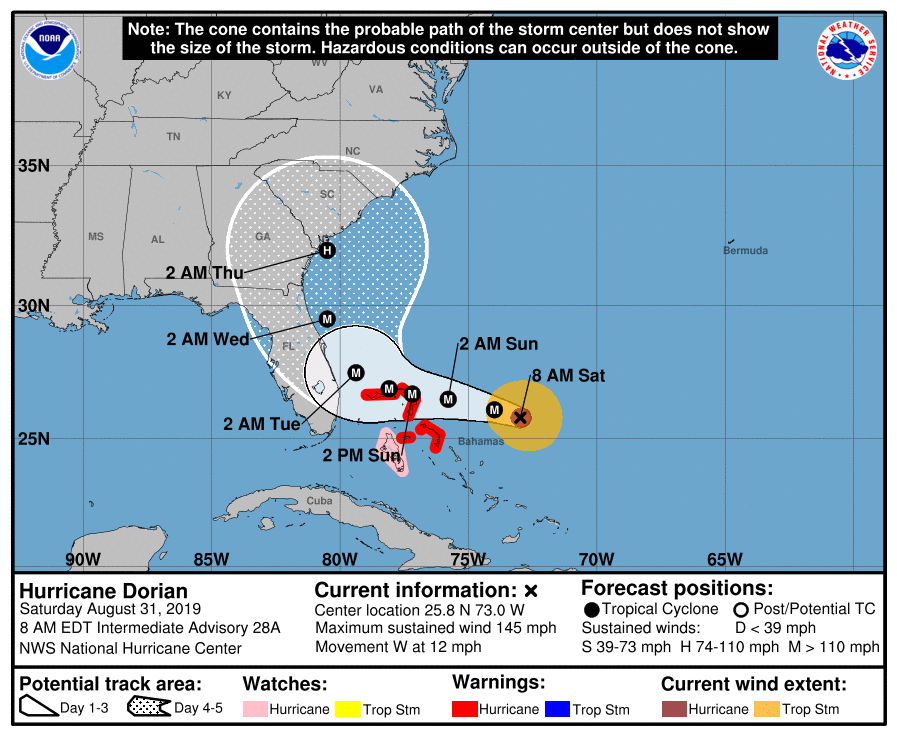 MAP Hurricane Dorian potential track as of August 31, 2019 - NOAA