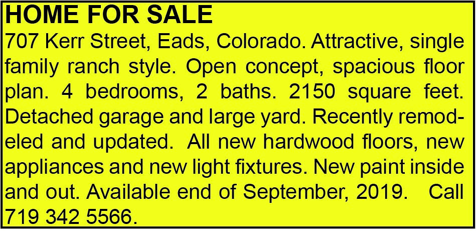 AD 2019-09-11 Home for Sale