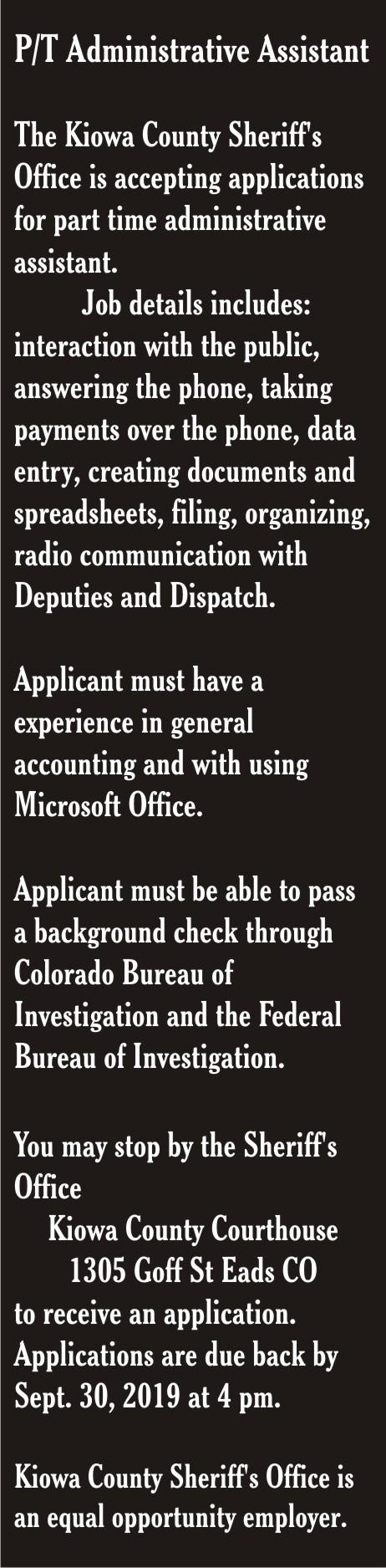AD 2019-09 Help Wanted - Kiowa County Sheriff's Office