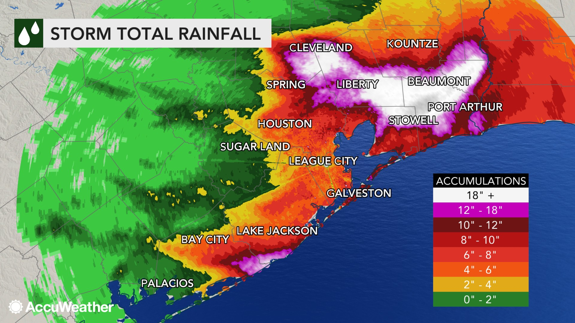 MAP Rainfall totals from Imelda in Texas as of September 19, 2019 - AccuWeather