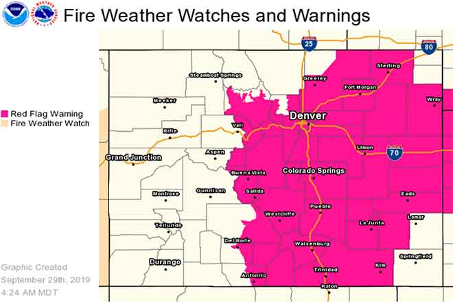 MAP Red Flag Warning in Colorado for September 29, 2019 - NWS