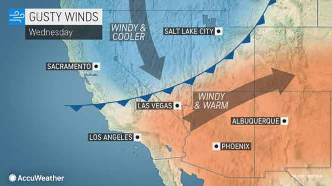 MAP Gusty winds expected October 9, 2019 - AccuWeather