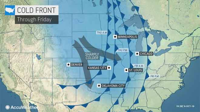MAP Cold front path through October 11, 2019 - AccuWeather