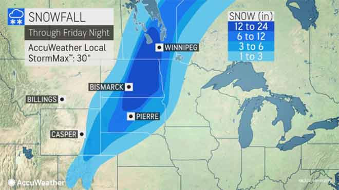 MAP Projected snowfall through October 11, 2019 - AccuWeather