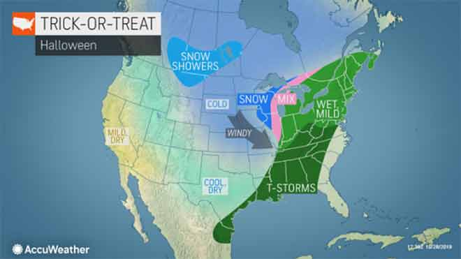 MAP National Halloween storm forecast - AccuWeather