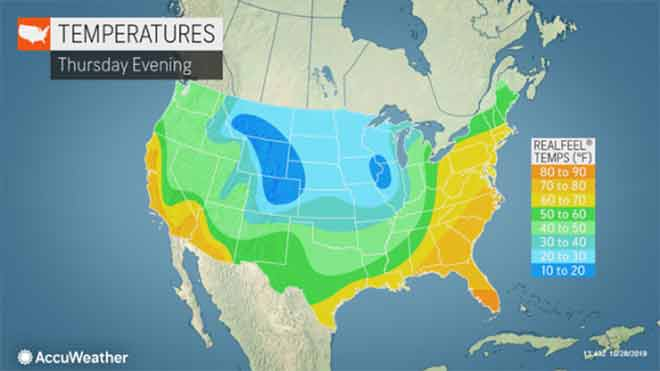 MAP National Halloween temperature forecast - AccuWeather