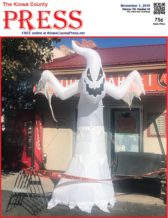 Photo of the Week - 2019-11-01 - Spooky Halloween ghost decoration in front of Stop and Shop in Eads, Colorado.