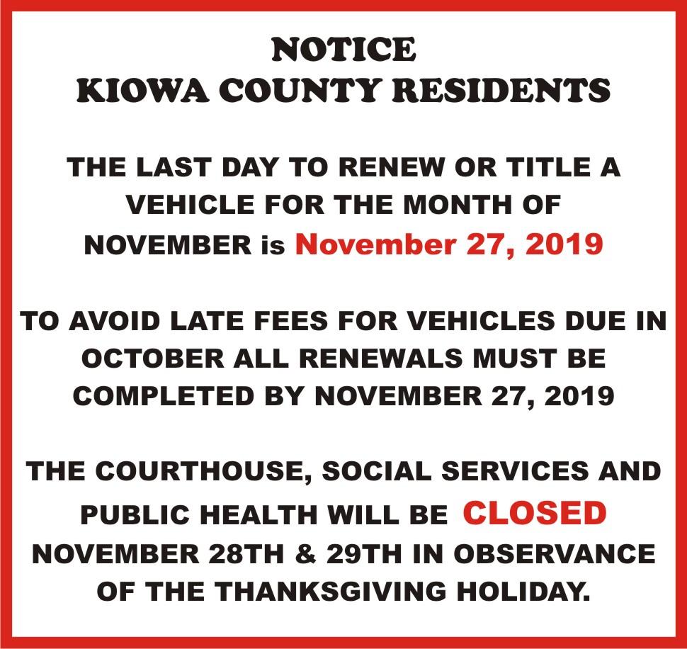 AD 2019-11 Office Closed - Kiowa County Clerk