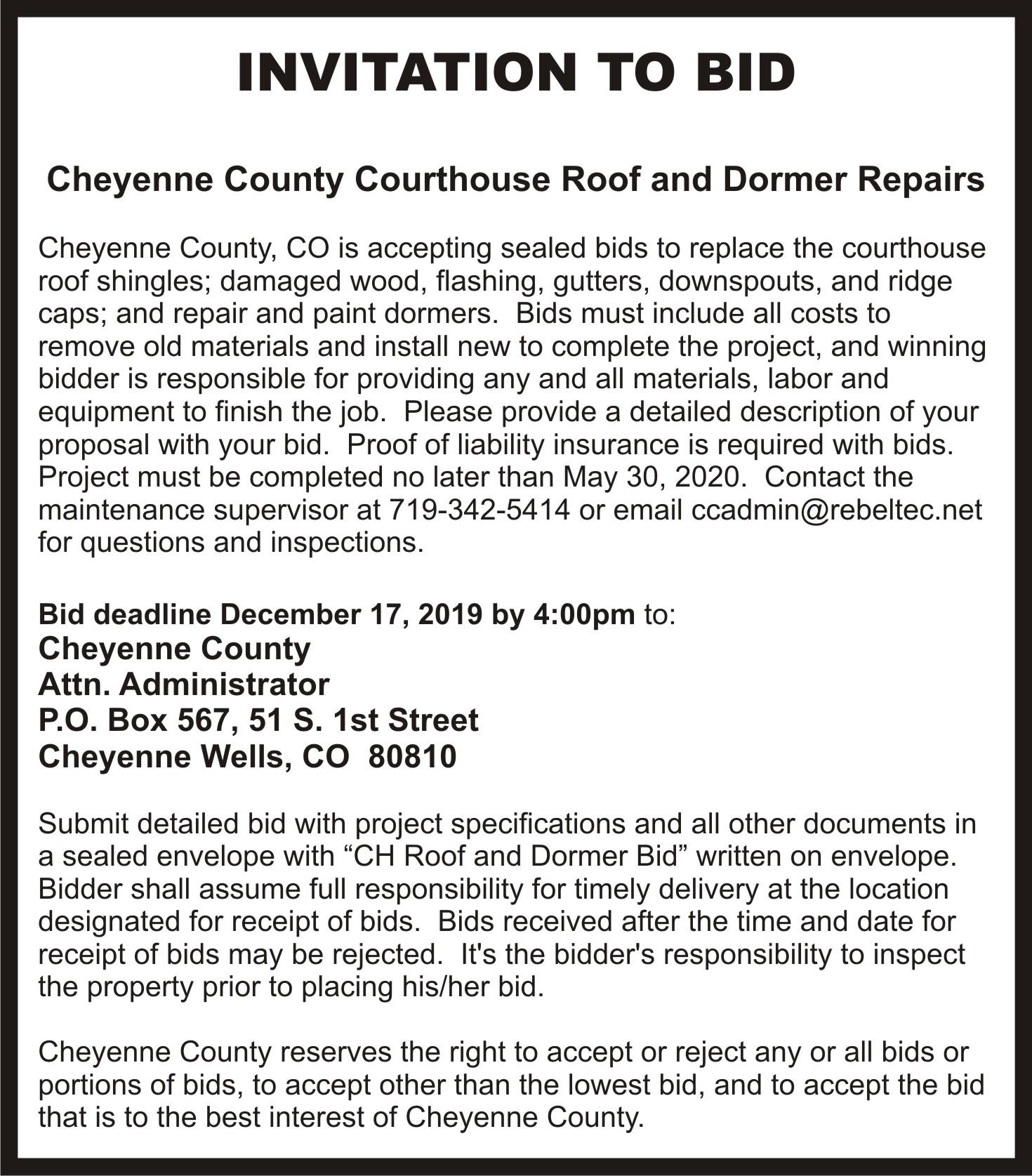 AD 2019-11 Bids Accepted - Cheyenne County