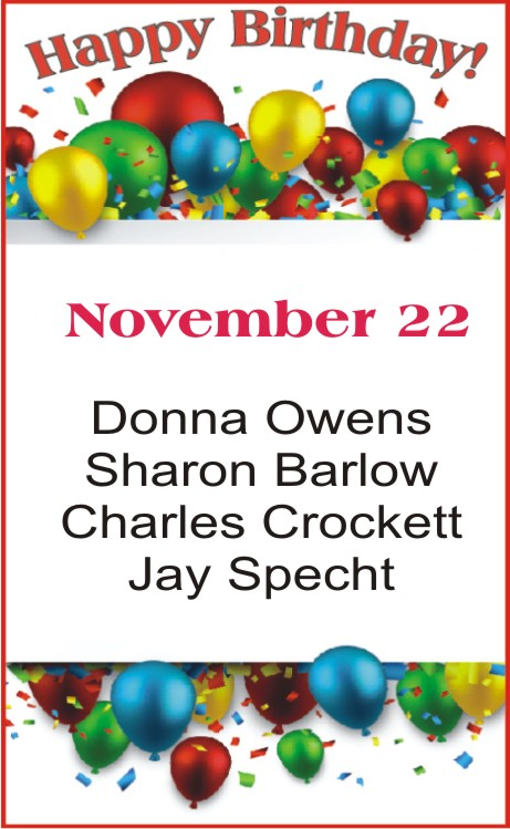 Happy Birthday to Owens Barlow Crockett Specht