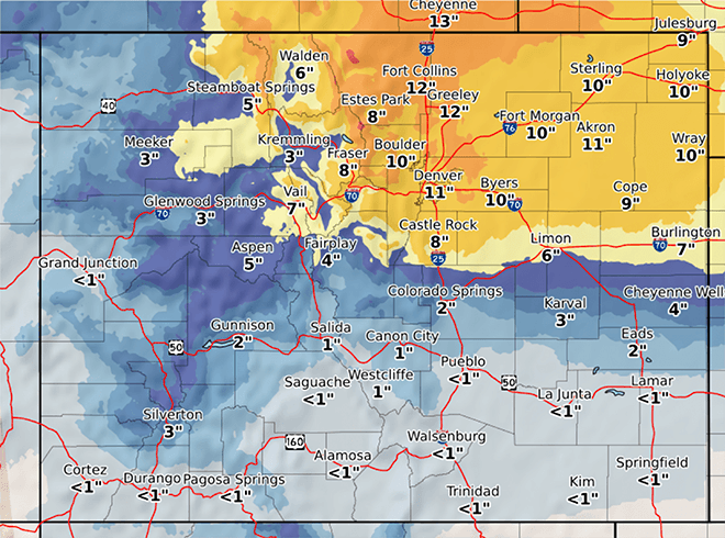 MAP Colorado projected snowfall totals for November 25-26, 2019 - NWS