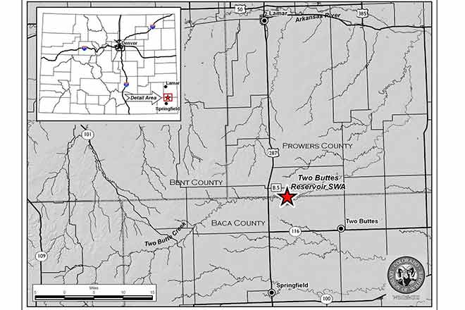 MAP Two Buttes Reservoir in southeast Colorado - CPW