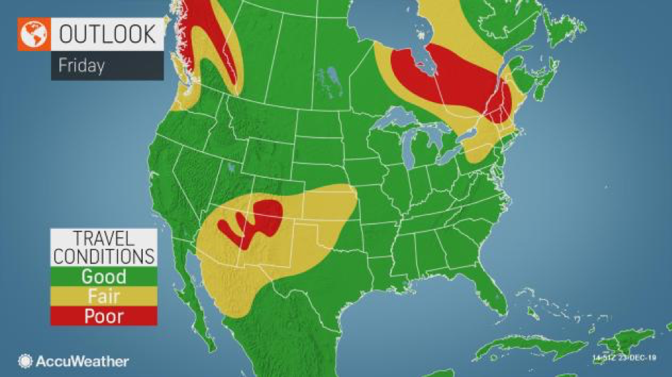 MAP Friday travel condition outlook - AccuWeather