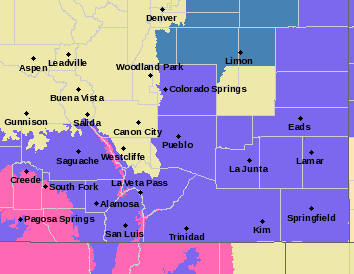 MAP Southeast Colorado winter weather map as of December 27, 2019 - NWS