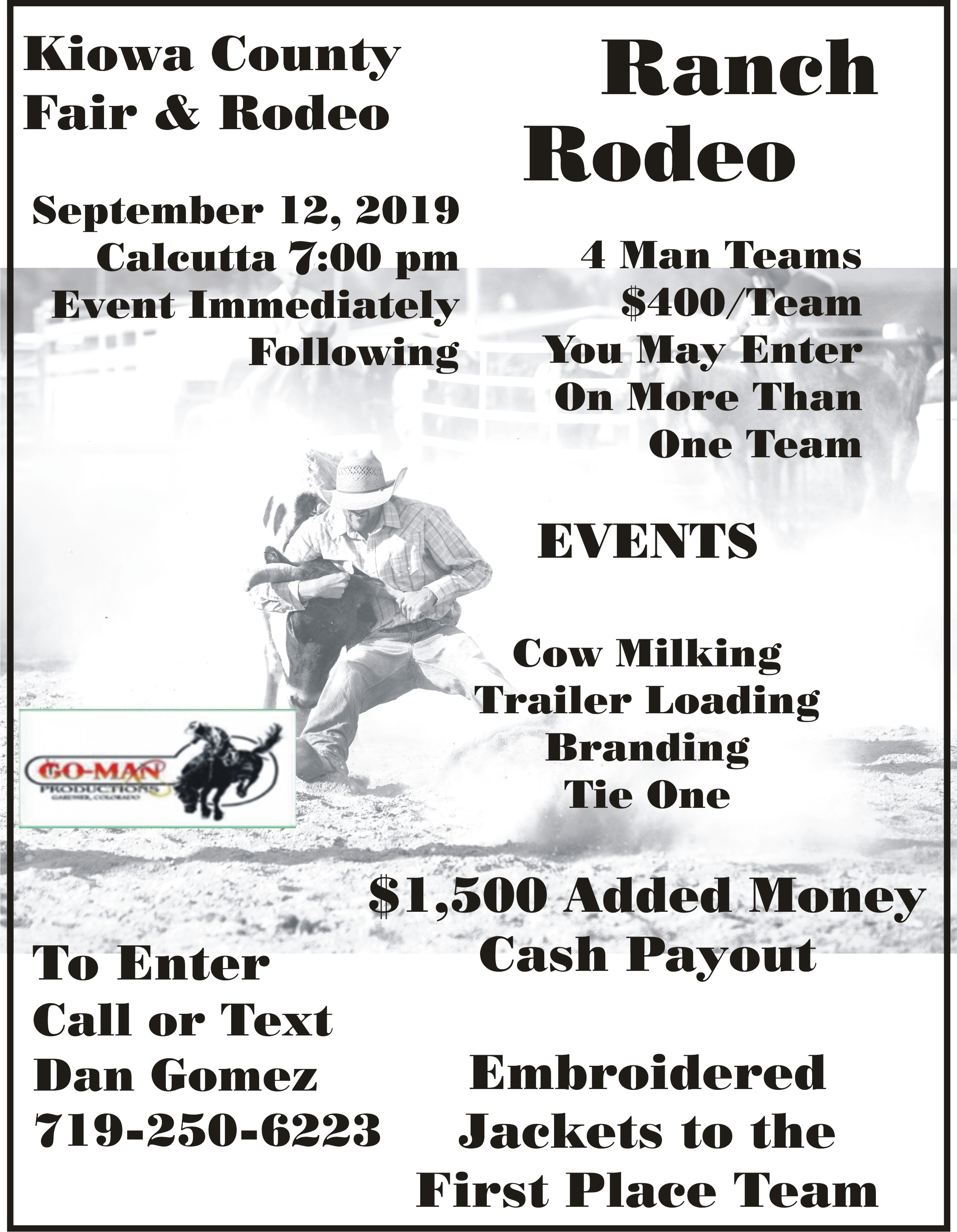 2019 Kiowa County Fair - Ranch Rodeo Poster