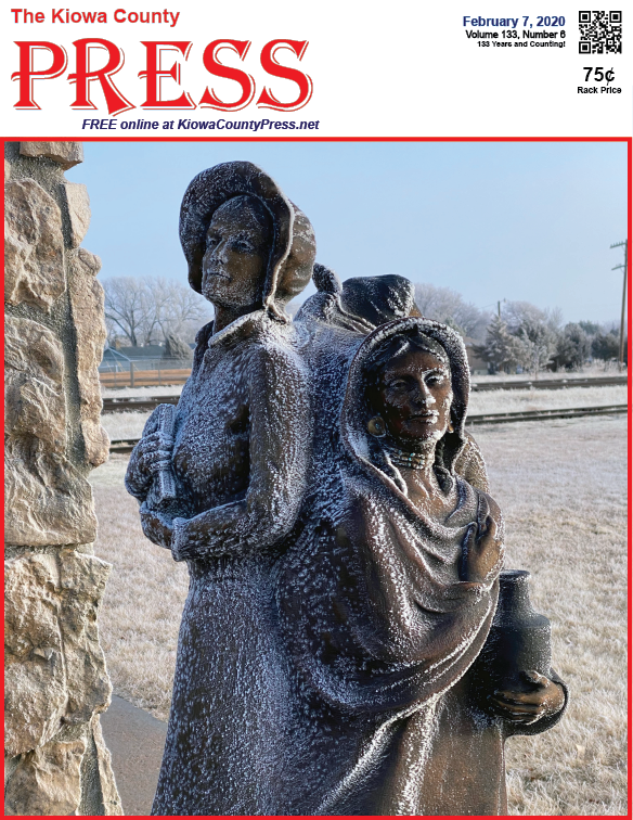 Photo of the Week - 2020-02-07 - Frost blankets a bronze statue of three women at the roadside park in Eads, Kiowa County, Colorado.