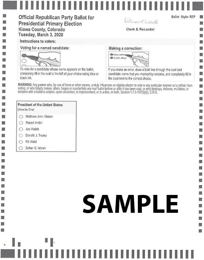 NONLEGAL Kiowa County Primary Election Ballot - March 3, 2020 Page 1