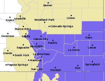 MAP Winter weather advisory for southeast Colorado February 19-20, 2020 - NWS