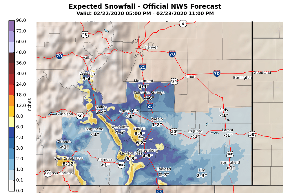 MAP Colorado snow total through 2300 Sunday, February 23, 2020 - NWS