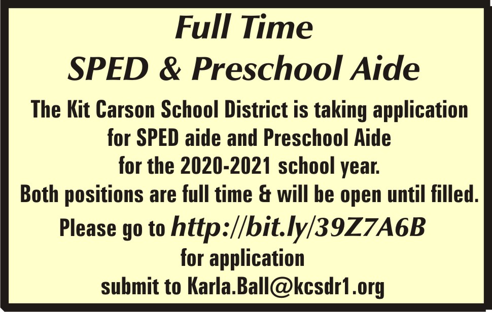 AD 2020-02 Help Wanted - Kit Carson School District