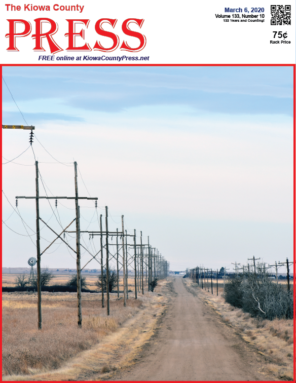 Photo of the Week - 2020-03-06 - Power lines along a country road in Kiowa County, Colorado.