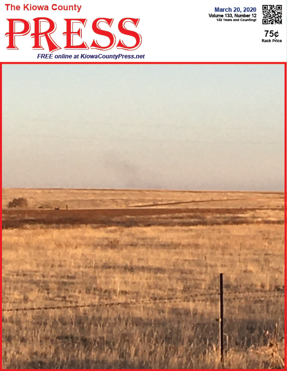 Photo of the Week - 2020-03-21 - Smoke from a prairie fire south of Eads, Kiowa County, Colorado.