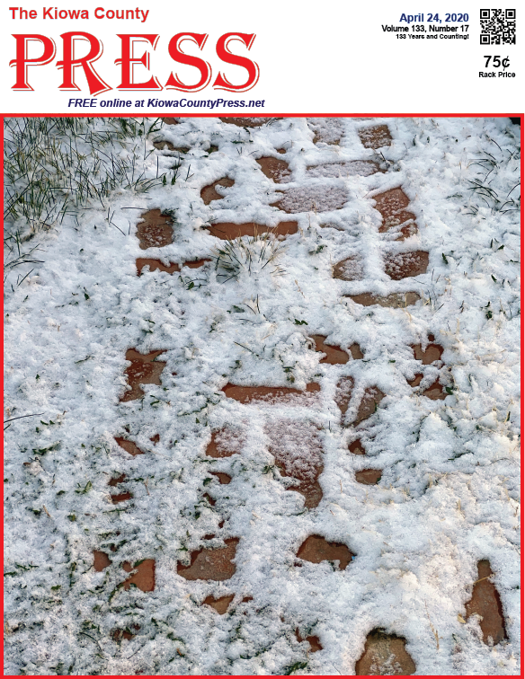 Photo of the Week - 2020-04-24 - Snow on a brick path near Eads, Kiowa County, Colorado.