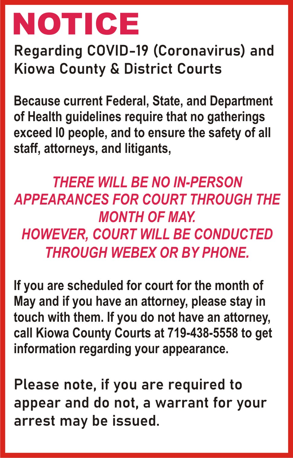 AD 2020-05 Kiowa County Court Appearances
