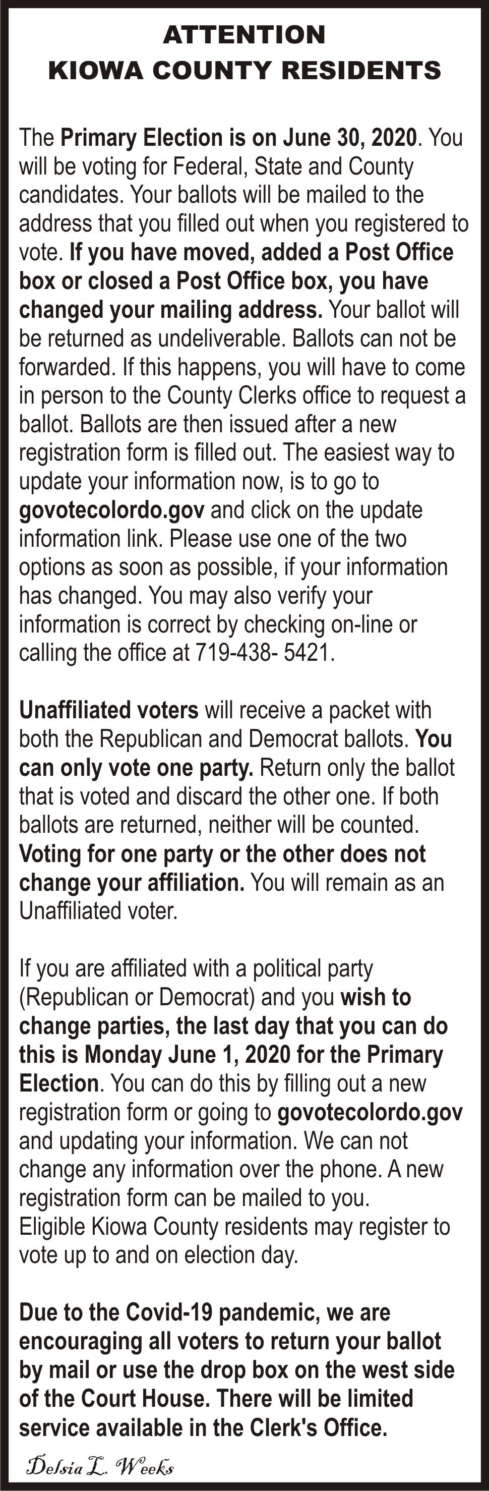 AD 2020-05 Election - Attention Kiowa County Residents