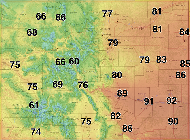 MAP Colorado high temperatures for May 23, 2020 - NWS