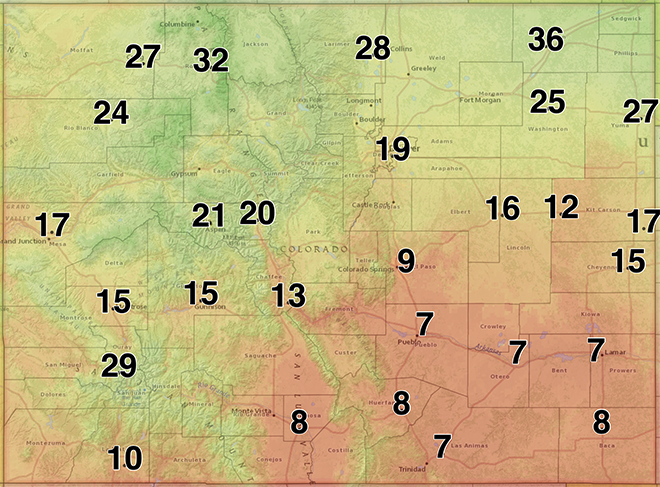 MAP Colorado relative humidity for May 23, 2020 - NWS