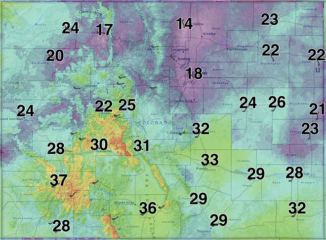 MAP Colorado wind gust for May 23, 2020 - NWS